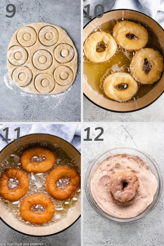 Collage of photos showing how to fry doughnuts.