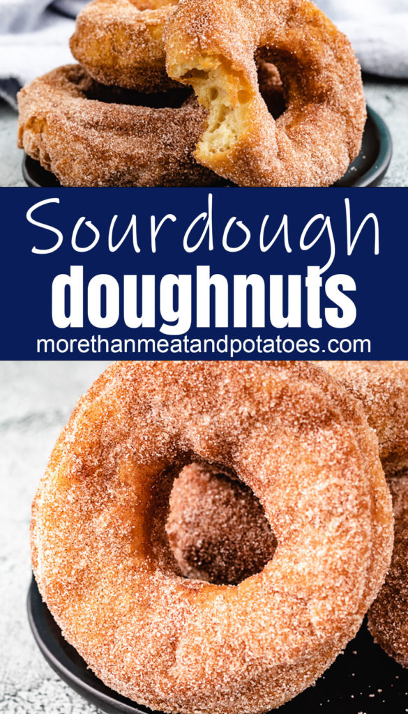 Collage style photo of severalSourdough Doughnuts and donut holes.
