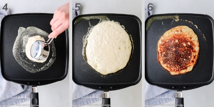 Three collage-style photos showing a pancake cooking on a griddle.