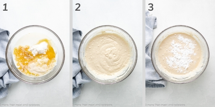 Three photos in a collage showing how to make batter for sourdough pancakes.