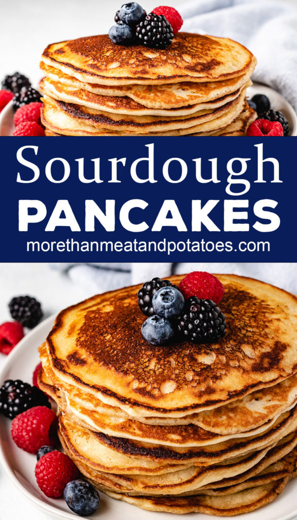 Two photos in a collage of sourdough starter pancakes.