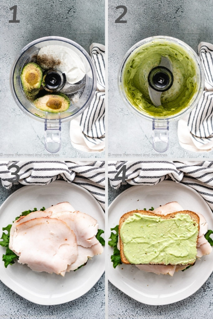 Collage style photo showing how to make avocado ranch dressing.