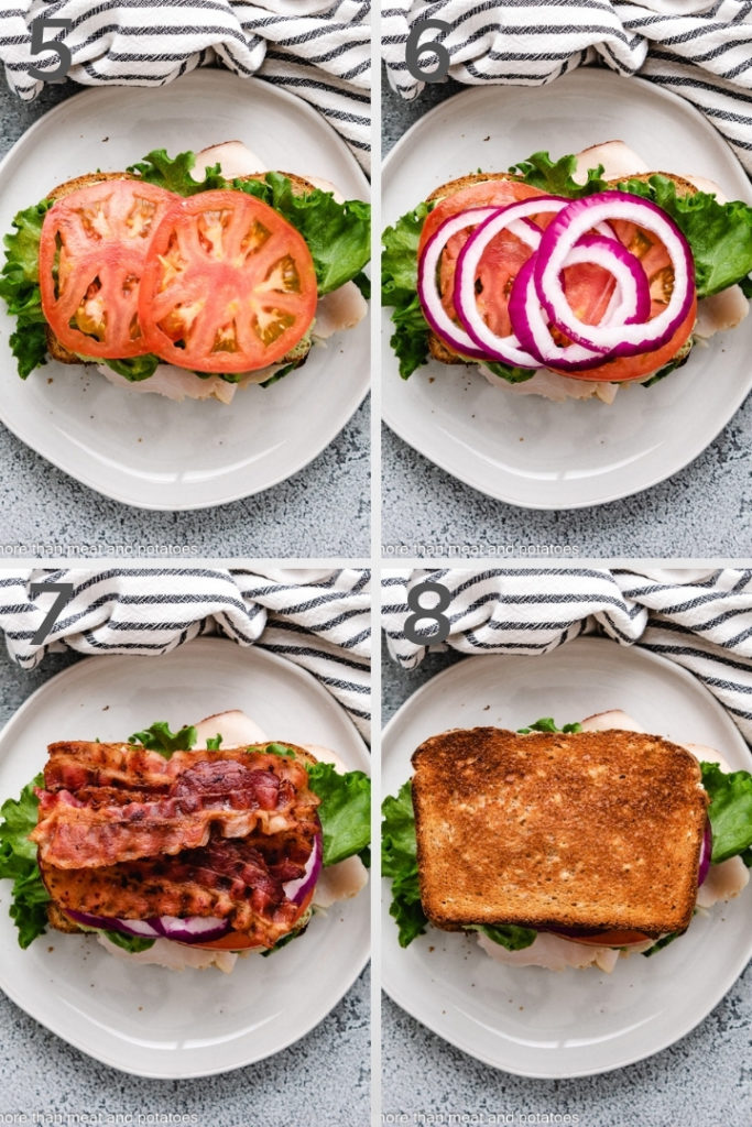 Collage style photo showing how to assemble a sandwich.