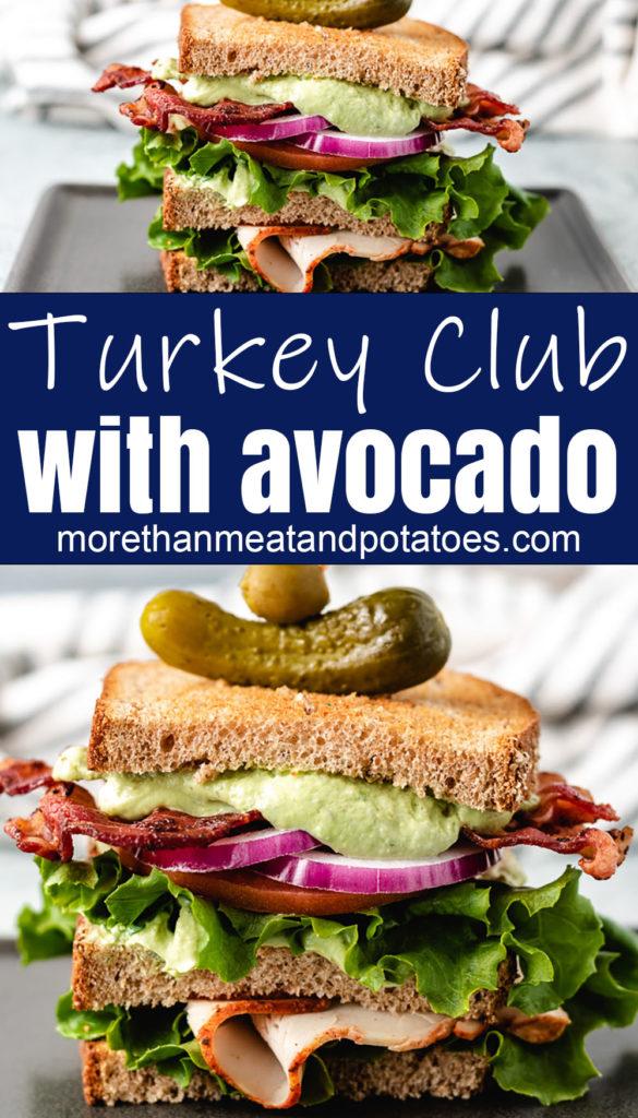 Turkey sandwich with avocado ranch dressing.