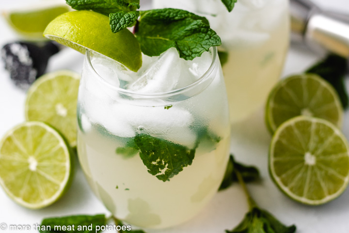 Virgin Mojitos with fresh mint and limes.