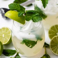 Virgin Mojitos with fresh lime.