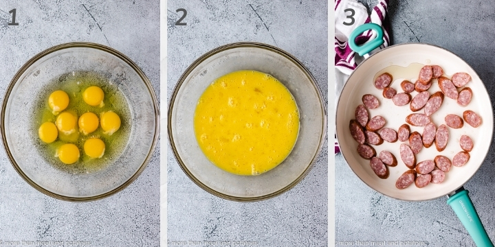 Collage style photo showing eggs in a glass bowl.