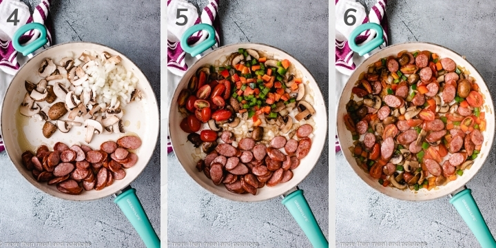 Collage style photo showing how to sauté vegges.