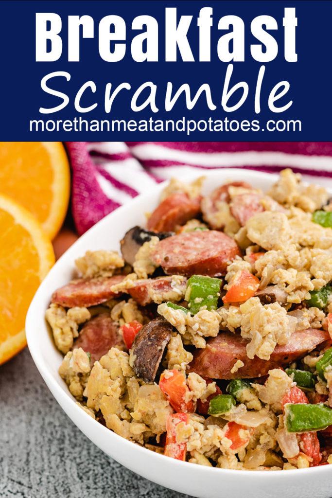 Sausage egg breakfast scramble in a bowl.