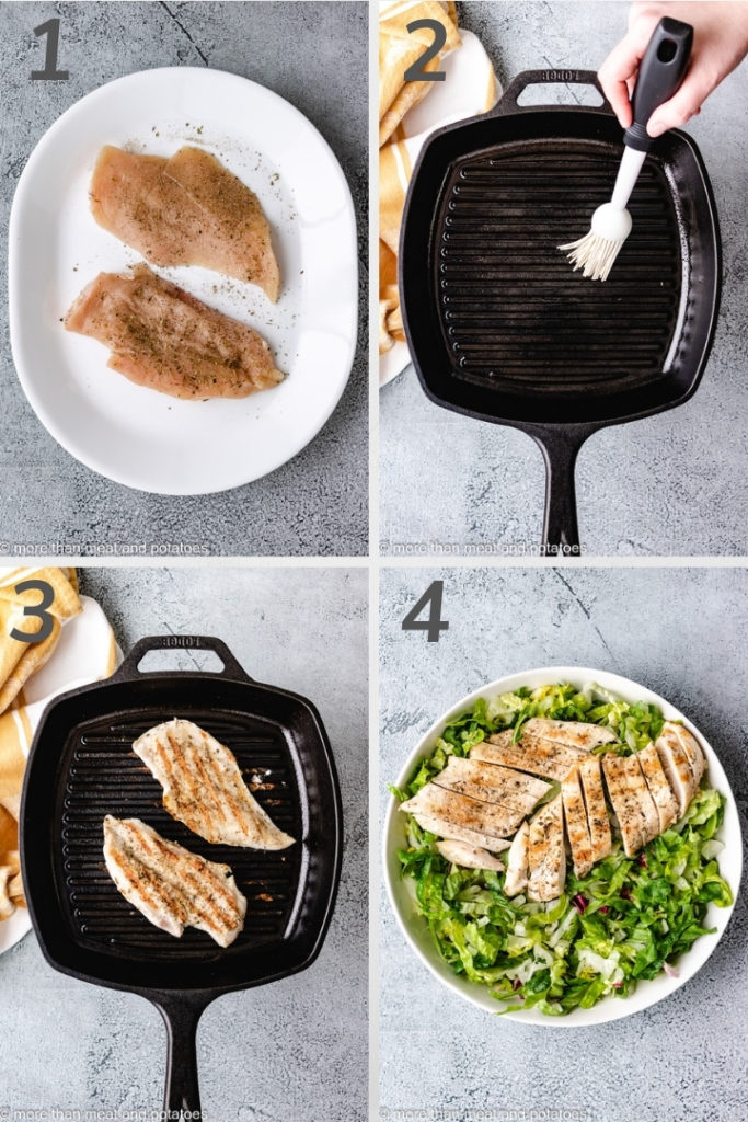 Collage style photo showing how to grill chicken.