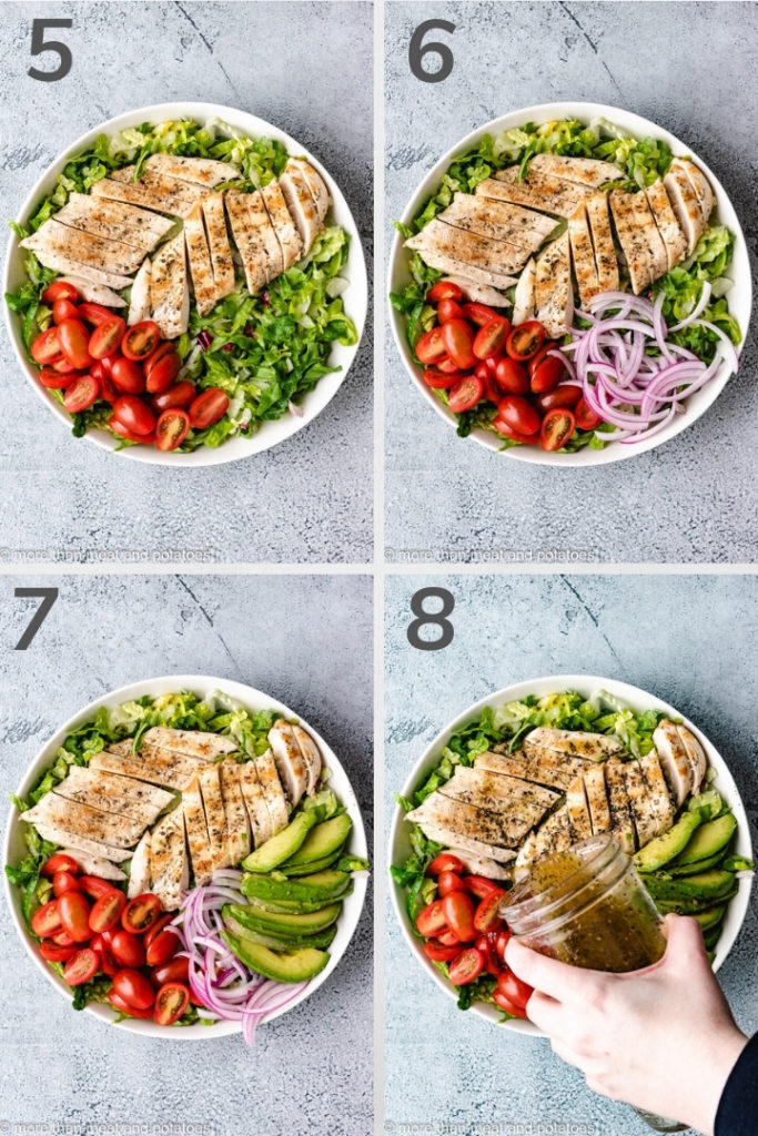 Collage style photo showing how to assemble a chicken avocado salad.