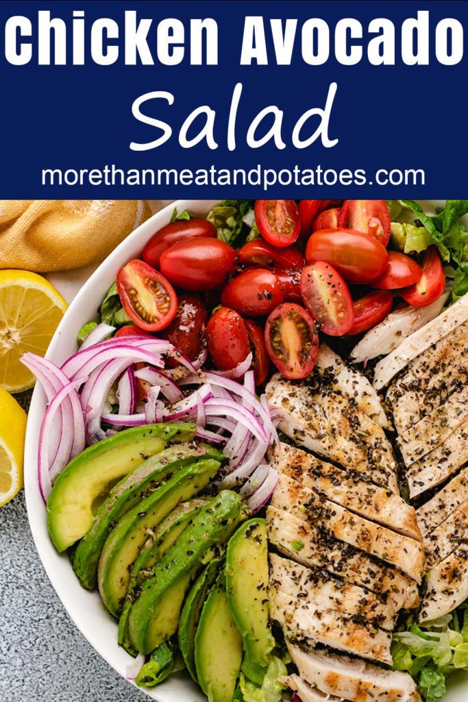 Close up view of chicken avocado salad.