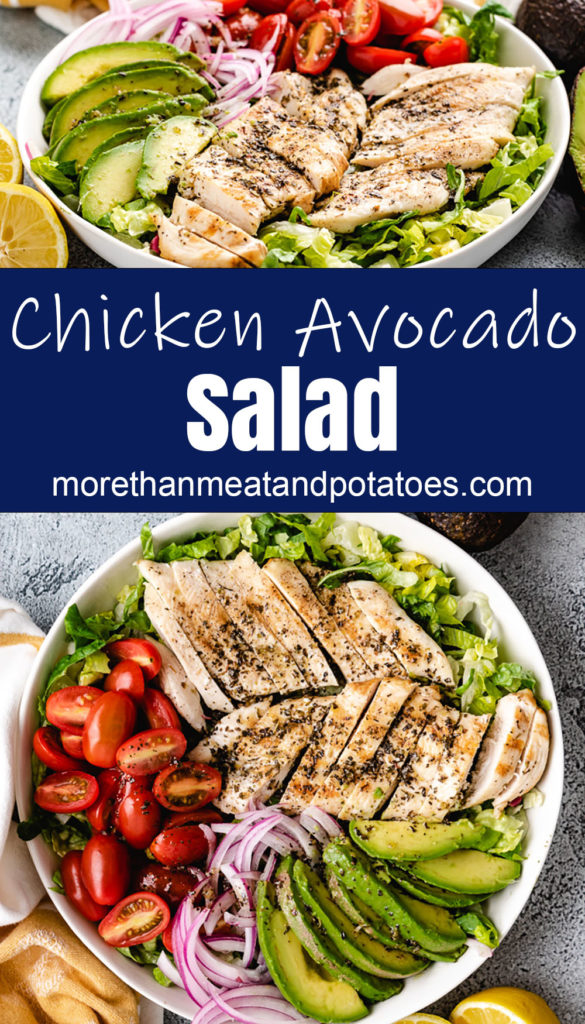 Collage style photo showing a bowl of avocado chicken salad.