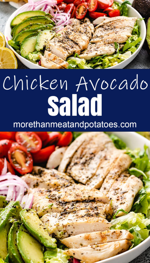 Collage style photo showing chicken avocado salad in bowls.