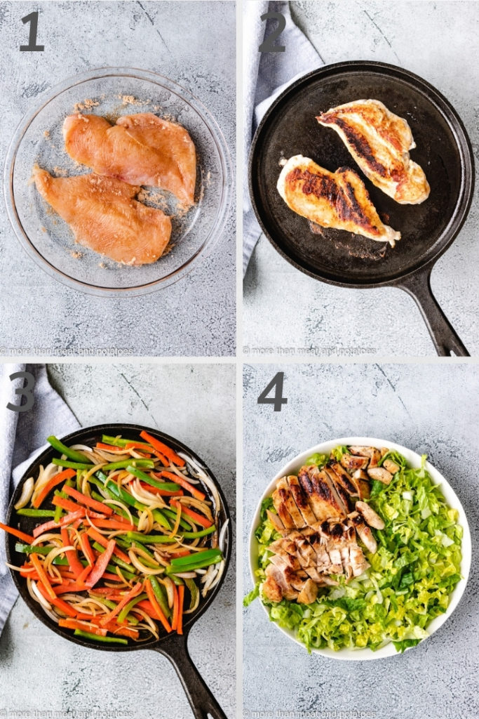 Collage style photo showing how to cook seasoned chicken.