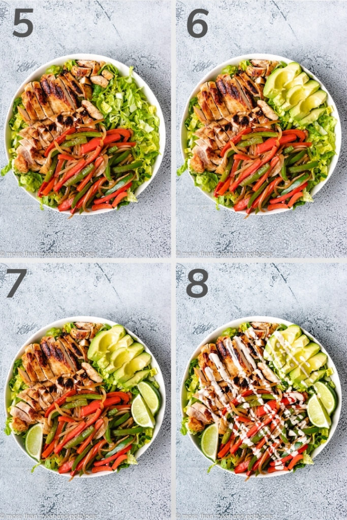 Collage style photo of how to assemble a chicken fajita salad.
