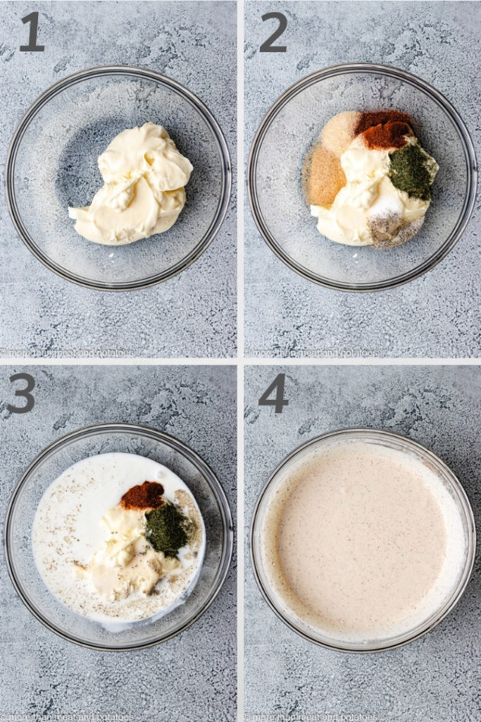 Collage style photo of how to make chipotle ranch dressing.