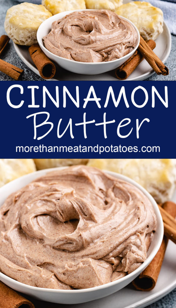 Collage style photo with two bowls of cinnamon butter.