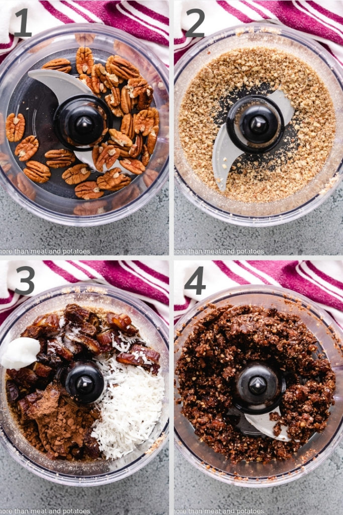Collage showing ingredients for date balls in a food processor.