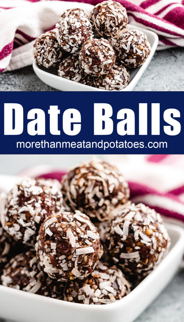 Coconut date balls in a square white dish.