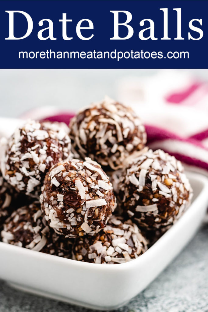 Chocolate date balls in a white bowl.