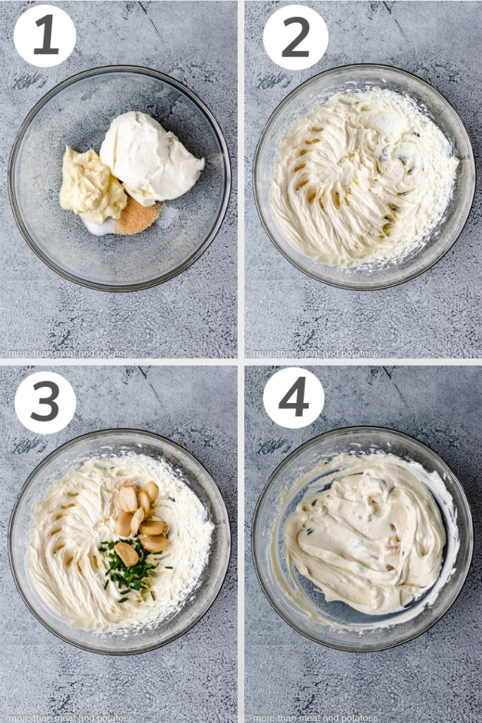 Collage style photo of how to make garlic dip.