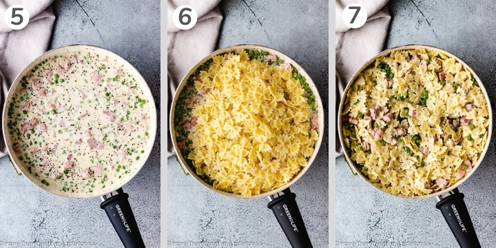 Collage style photo showing how to make ham and peas pasta.