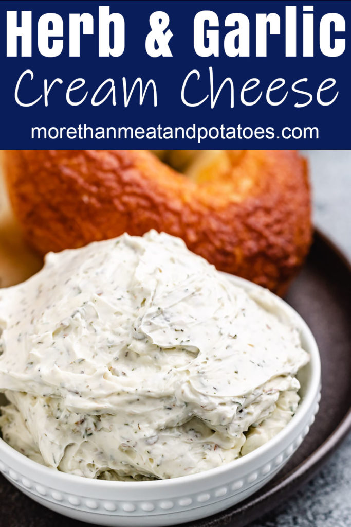 Herb flavored cream cheese in a white dish.