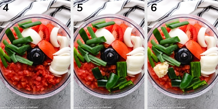 Collage style photo showing salsa ingredients in a food processor.