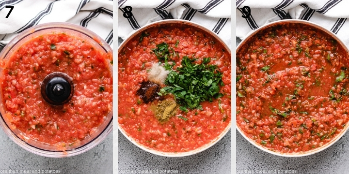 Collage style photo showing salsa in a skillet.