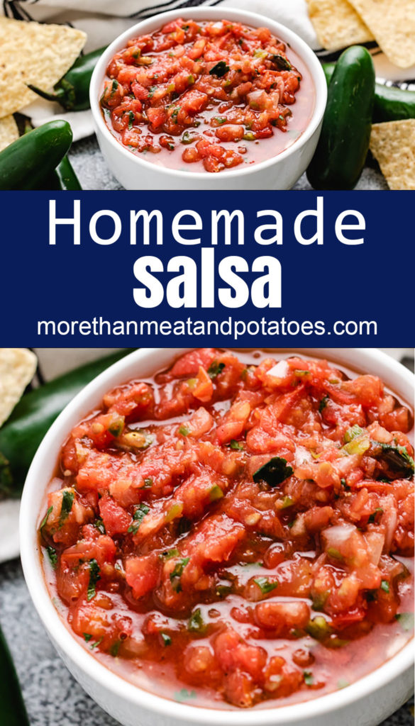 Collage style photo of fresh salsa.