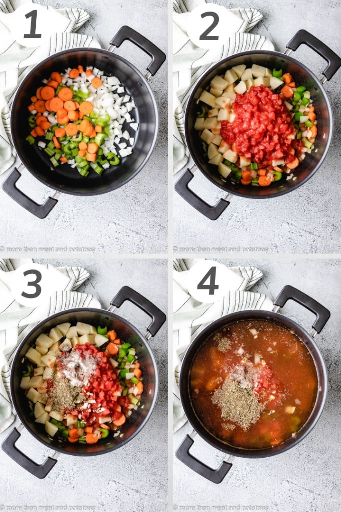 Collage style photo of how to make vegetable soup.