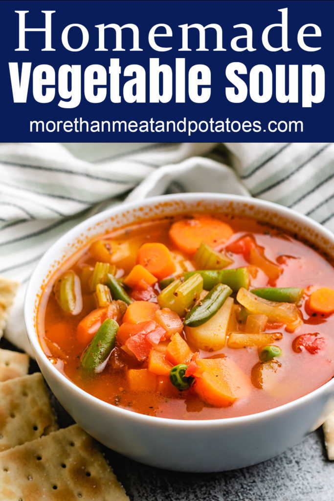 Homemade vegetable soup in a bowl.