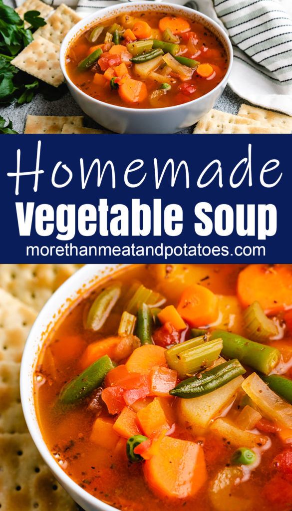 Collage style photo of vegetable soup in white bowls.