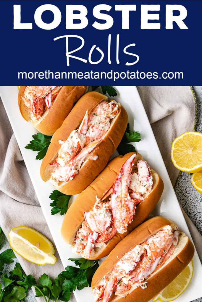 Top down view lobster rolls with fresh parsley.