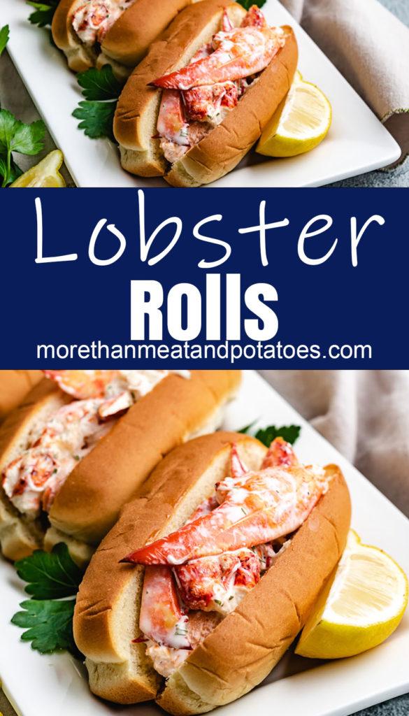 Lobster rolls on a white platter with fresh lemon.