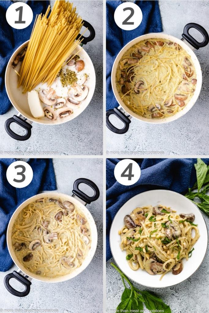 Collage style photo showing show to make mushroom pesto pasta.