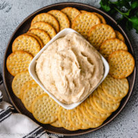 Top down view of ranch dip with crackers.