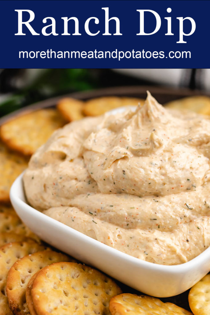 Ranch flavored cream cheese dip with crackers.