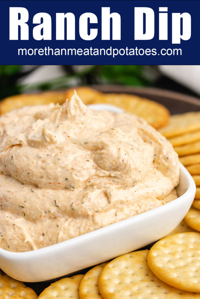 Ranch flavored dip in square dish.