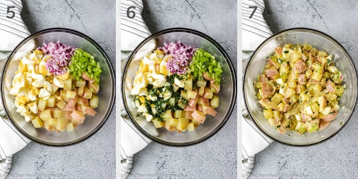 Collage style photos showing how to assemble red potato salad.