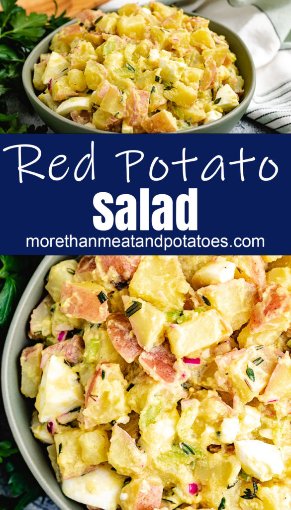 Collage style photo of red potato salad with vinegar dressing.