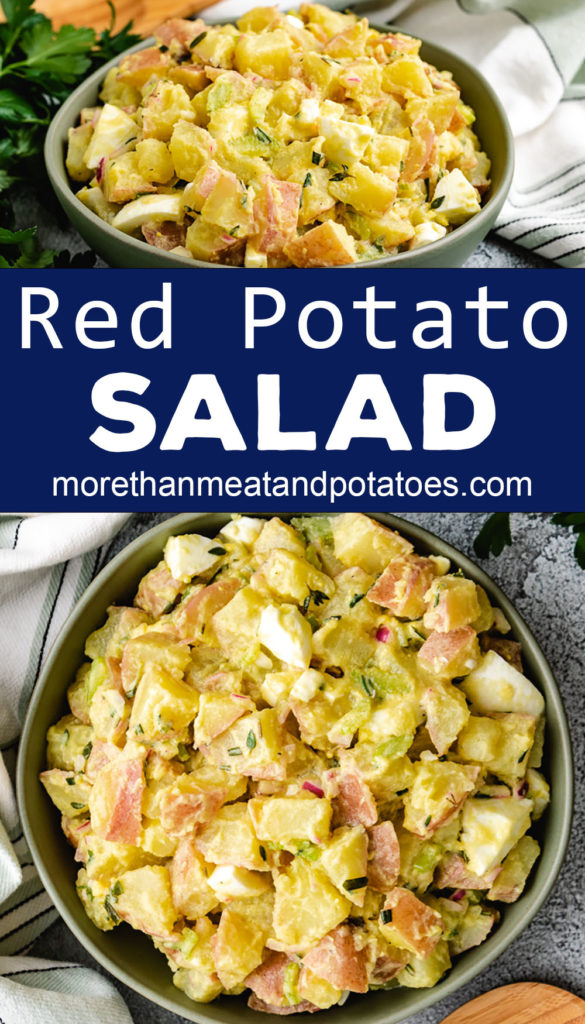 Collage style photo of potato salad in a green serving dish.