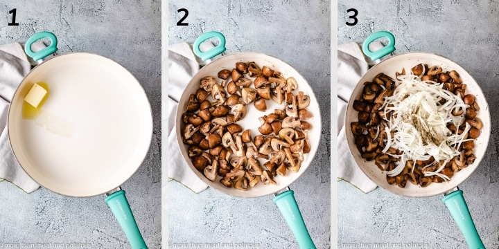 Collage style photo of mushrooms cooking in a pan.