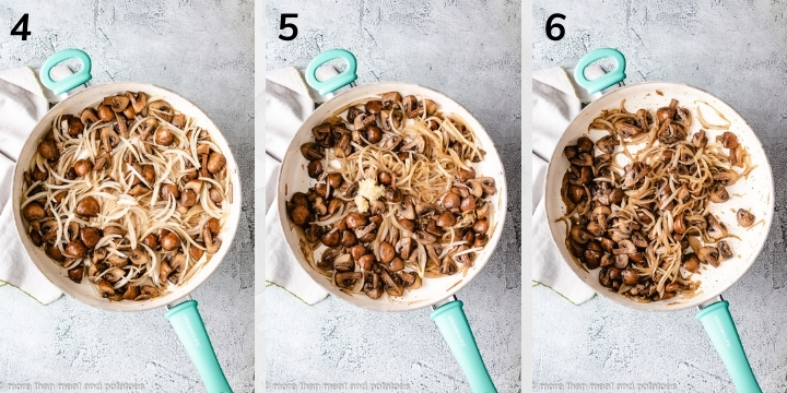 Collage style photo of mushrooms and onions cooking in a pan.