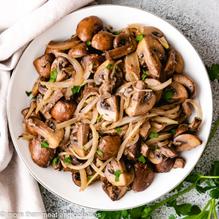 Sauteed Mushrooms and Onions Featured Image Easy Sautéed Mushrooms and Onions