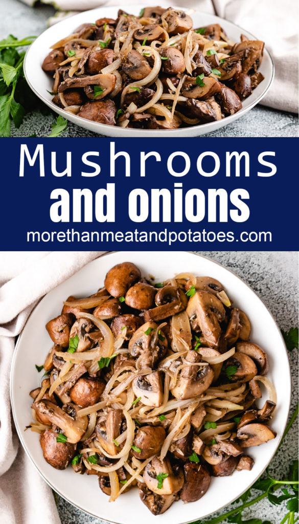 Collage style photo of sautéed mushrooms and onions.
