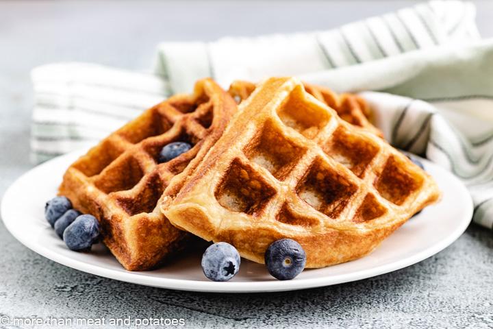 Sourdough waffles with fresh fruit.