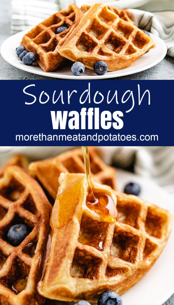Collage style photo of waffles with fresh blueberries on plates.