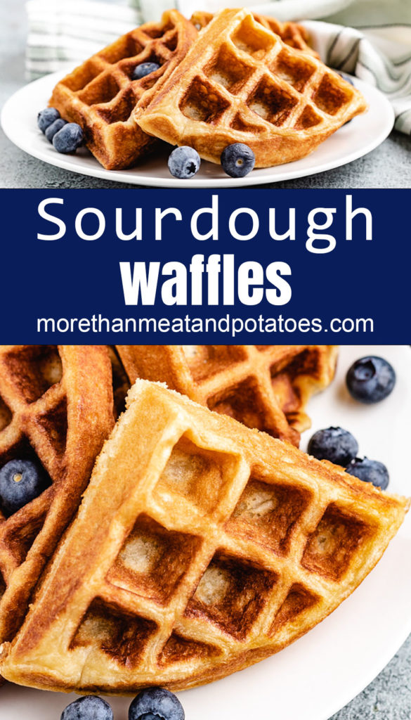 Collage style photos of waffles with fresh blueberries on white dishes.